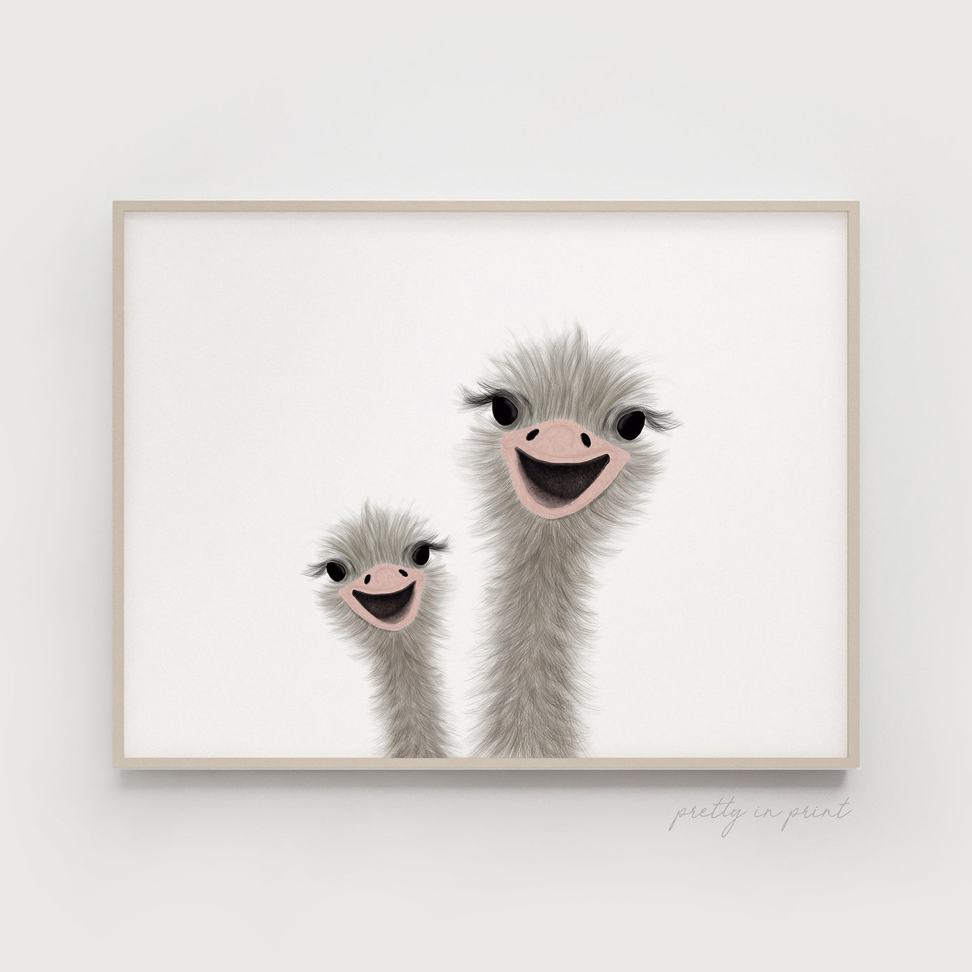 Ostrich Nursery Art | Funny Ostrich | DOUBLE Landscape Orientation - Pretty in Print Art