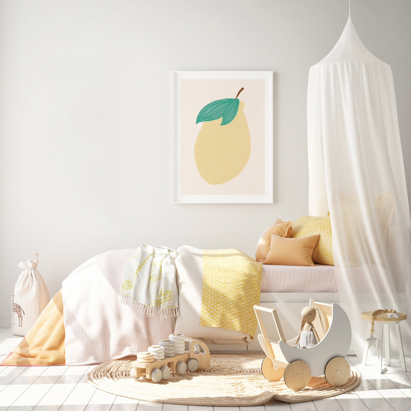 Lemon Nursery Art | Fruit Decor | Scandi Nursery Decor