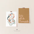 Let's All Be Mermaids Art | Under the Sea Room Theme | Scandi Kids Decor (Mustard)