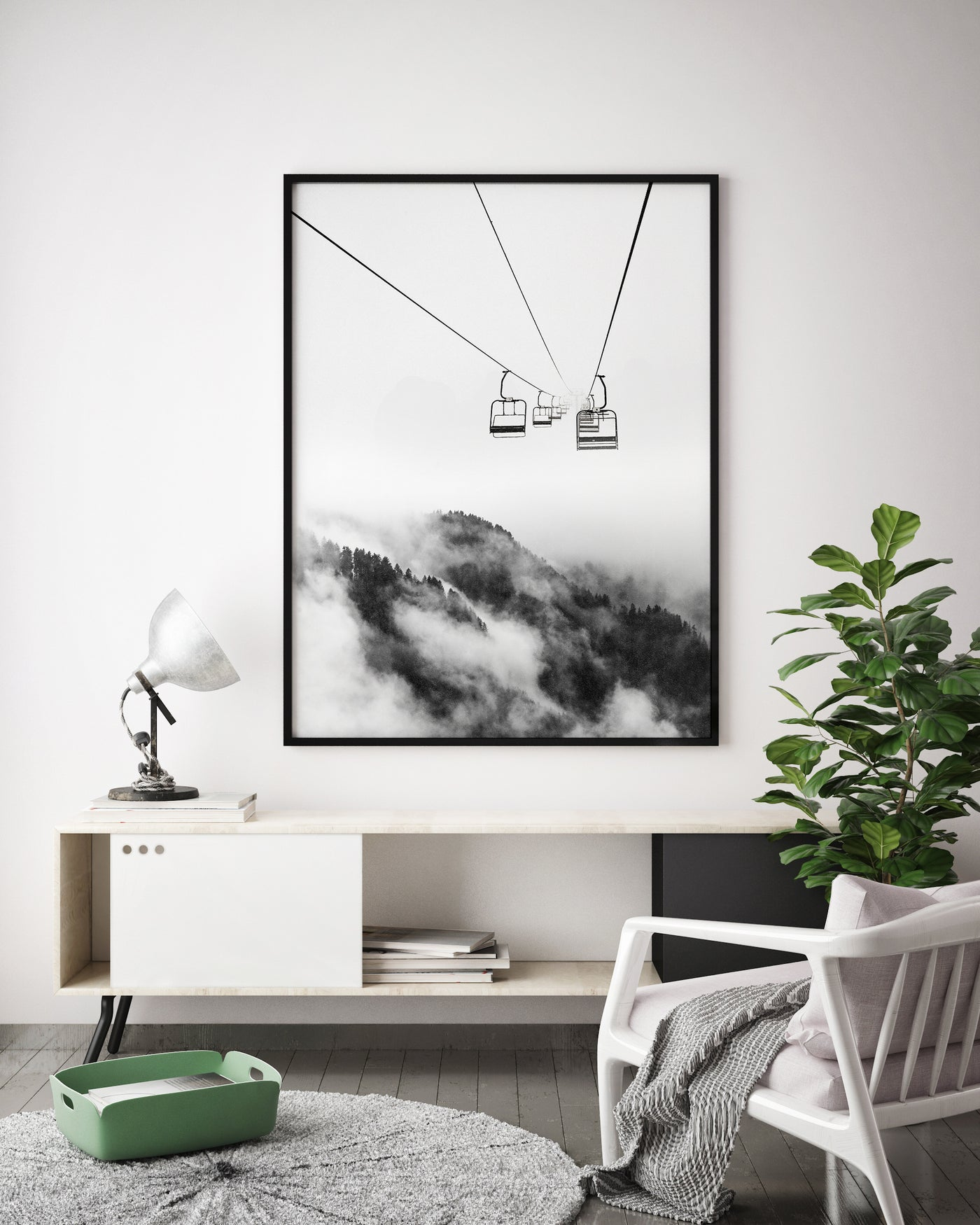 Ski Lift Snowy Mountain | Black & White Landscape Photography - Pretty in Print Art