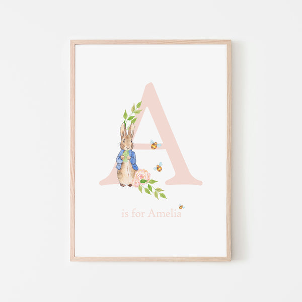 Peter Rabbit Print - Pink Personalised Name Print
