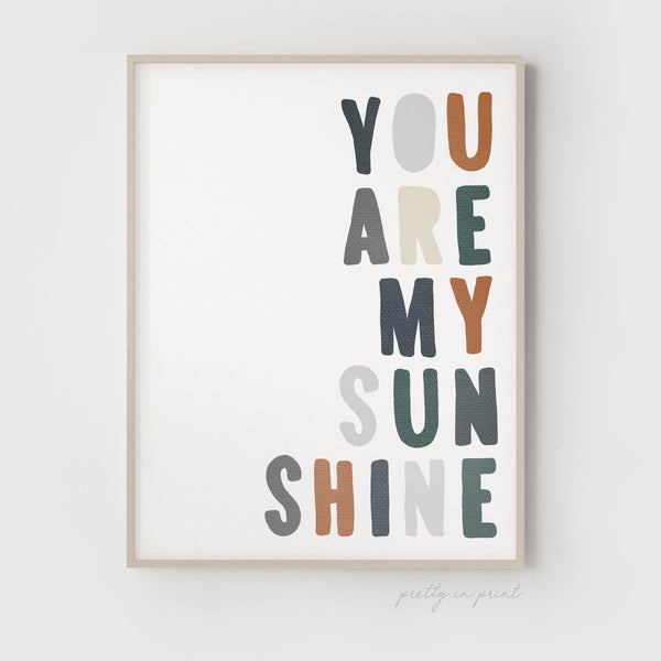 You Are My Sunshine Quote | Nursery Art | Navy / Brown - Pretty in Print Art