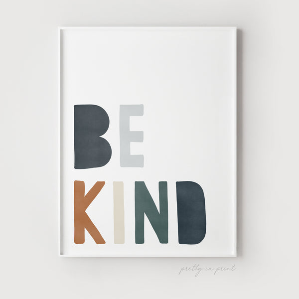 Be Kind Nursery Art Print | Navy & Brown