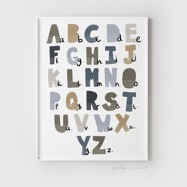 Alphabet Chart | Educational Scandi Nursery Design (Navy & Buff Colour)