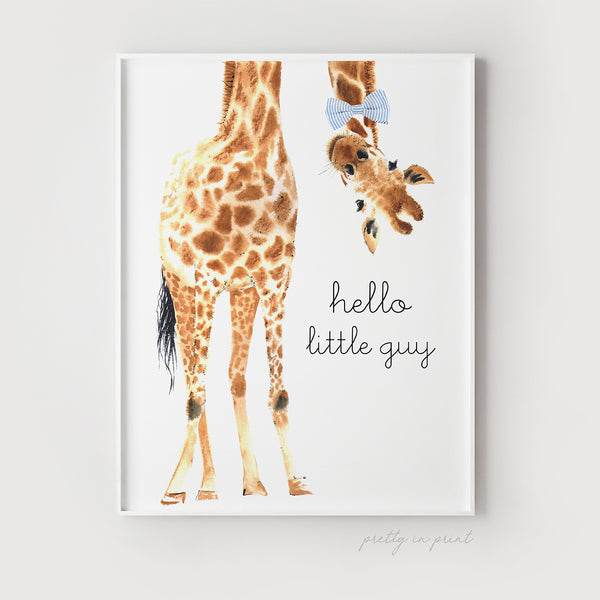 Hello Little Guy Giraffe Print - Blue Bow Tie - Pretty in Print Art