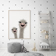 Ostrich Nursery Art | Funny Ostrich | DOUBLE Portrait Orientation - Pretty in Print Art