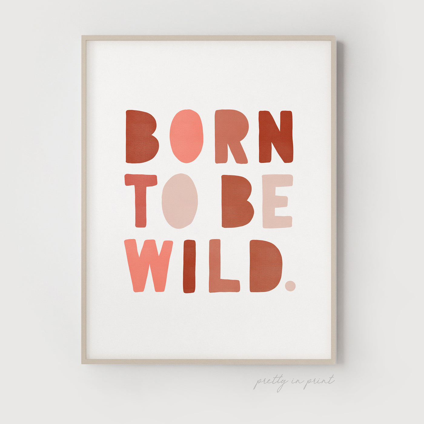 Born to be Wild Nursery Print | Pink & Red
