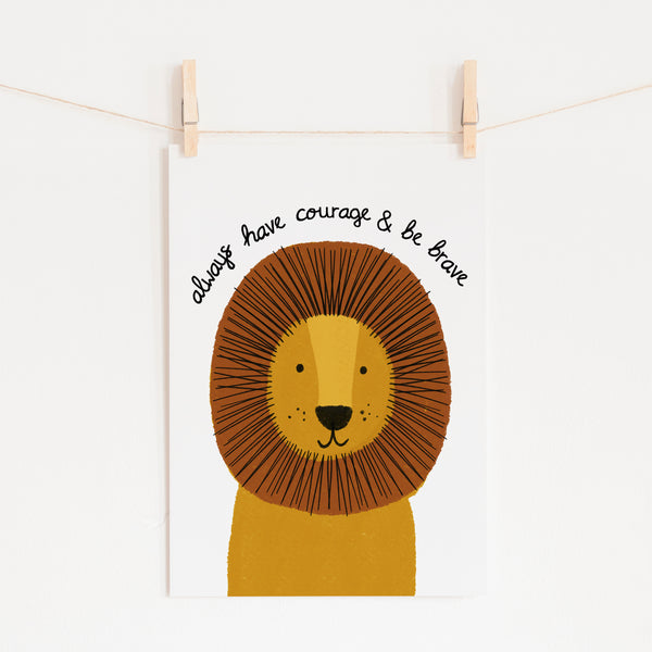 Lion Kids Decor | Be Brave Quote | Scandi Kids | Jungle Theme