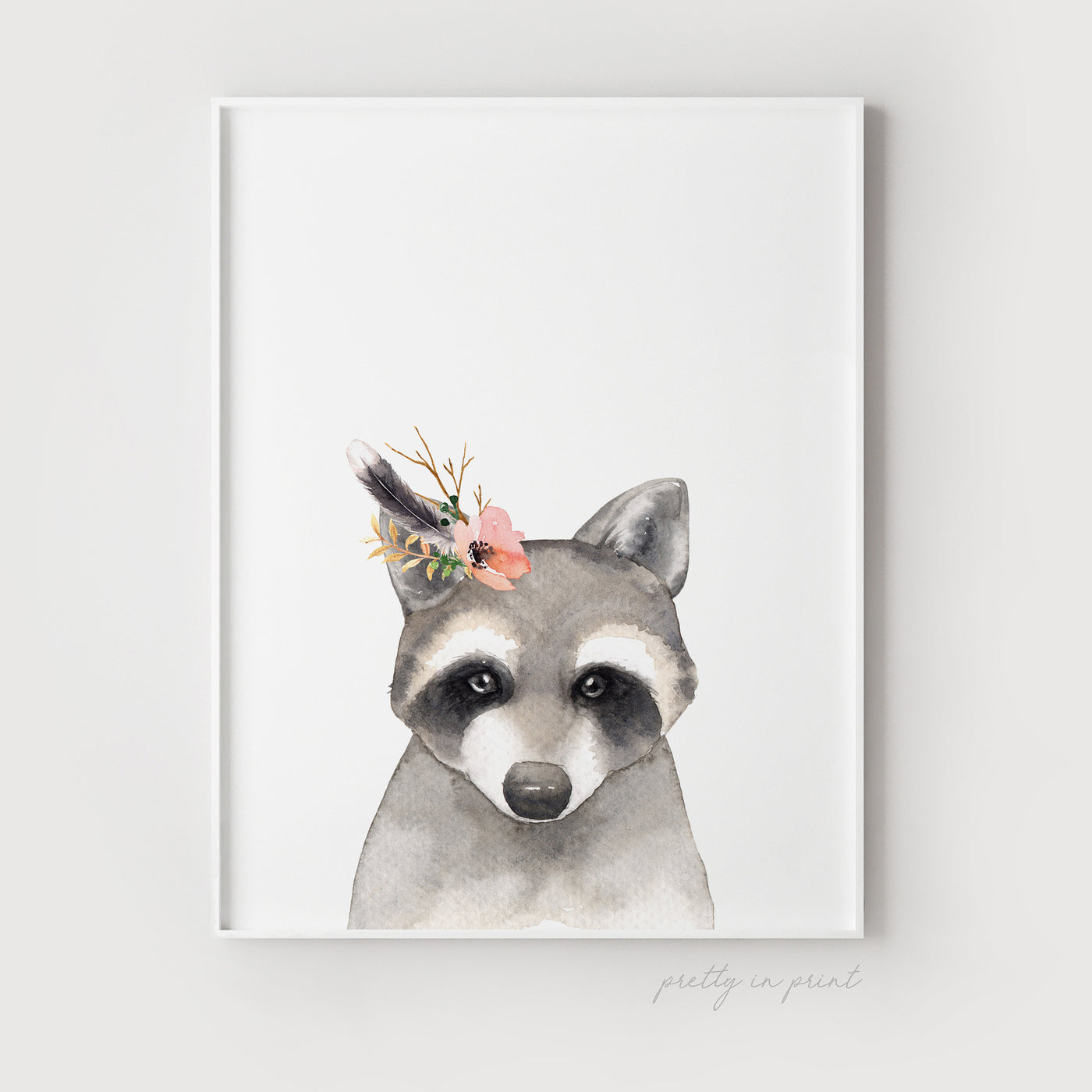 Nursery Raccoon Print - Floral Version - Pretty in Print Art