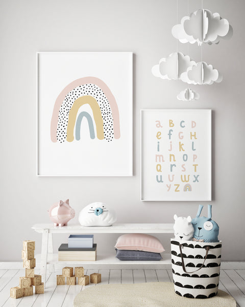 Alphabet Chart | Over the Rainbow Print | Rainbow Nursery Decor - Pretty in Print Art