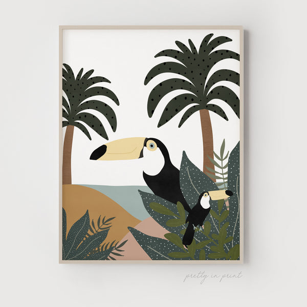 Toucans Poster | Scandi Kids Decor | Jungle Theme