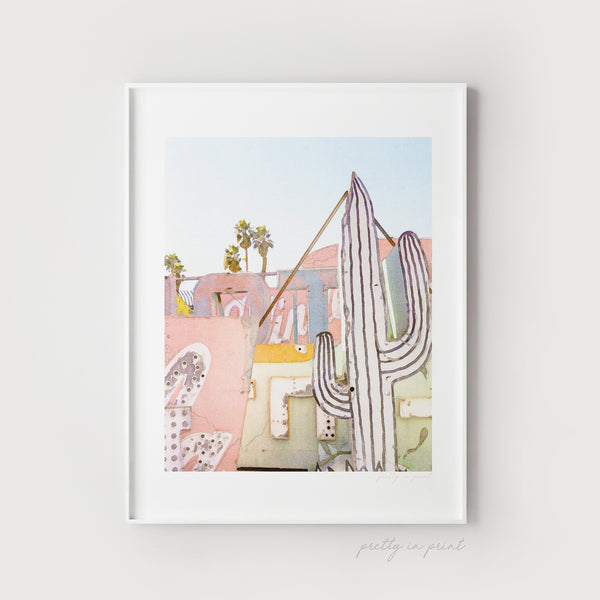 Cactus Watercolour | Neon Lights Art - Pretty in Print Art
