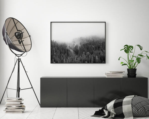Misty Forest | Black & White Landscape Photography - Pretty in Print Art