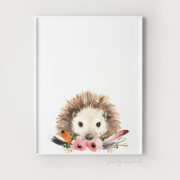 Nursery Hedgehog Print - Floral Version - Pretty in Print Art
