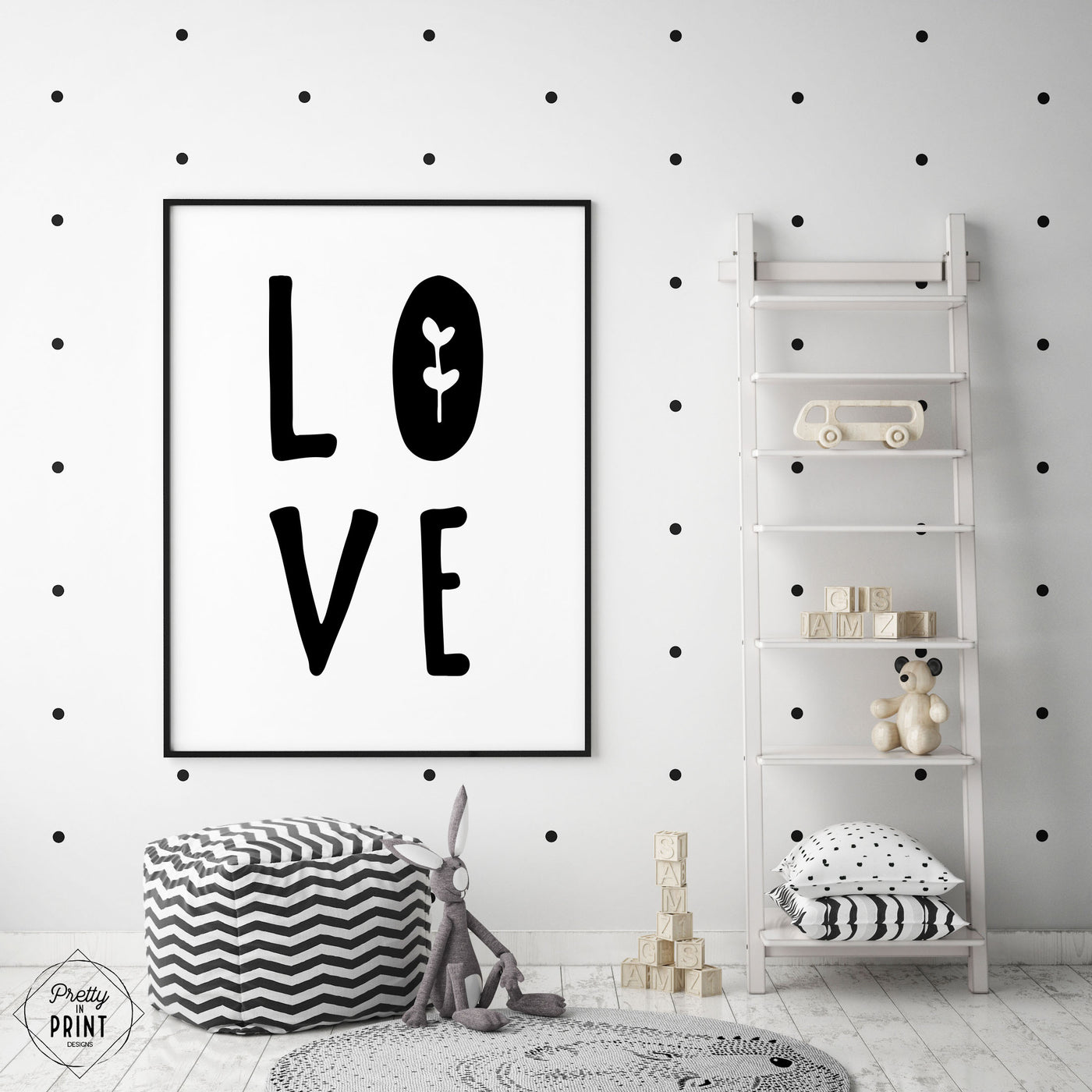 Black & White Nursery Quote Print - LOVE - Pretty in Print Art