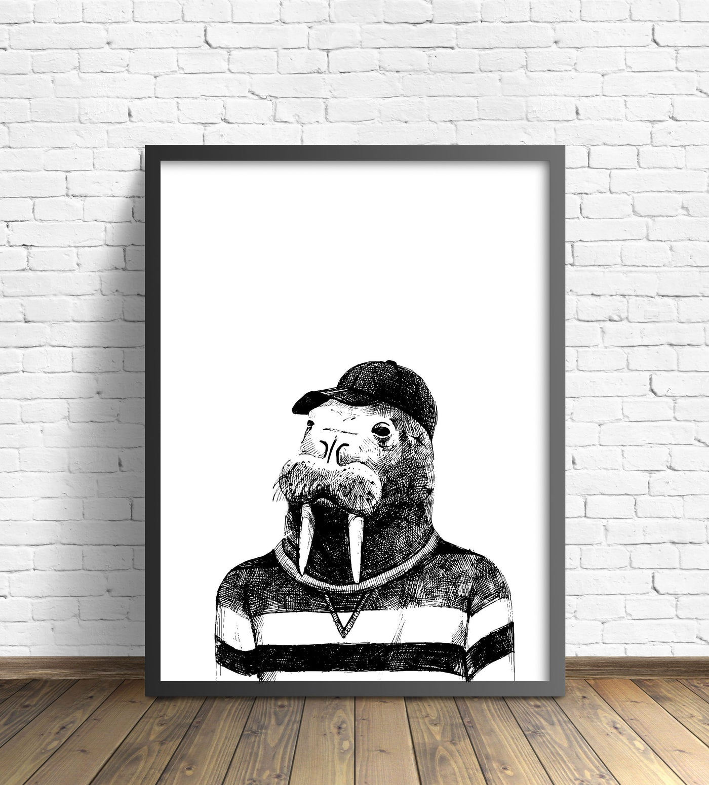 Hipster Animal Print | Walrus Without Pipe - Pretty in Print Art