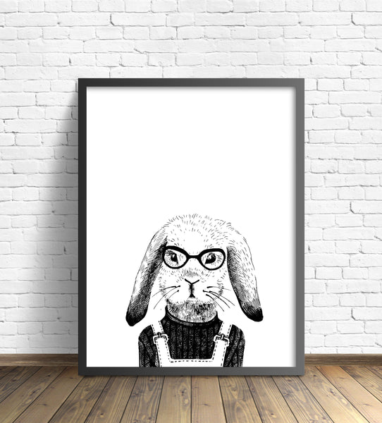 Hipster Animal Print | Rabbit Without Pipe - Pretty in Print Art