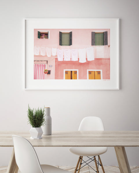 Pink & Green Laundry House | Rustic | Wanderlust Travel Poster - Pretty in Print Art