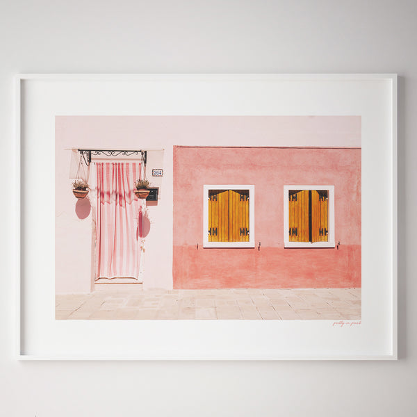 Pink House | Rustic | Wanderlust Travel Poster - Pretty in Print Art