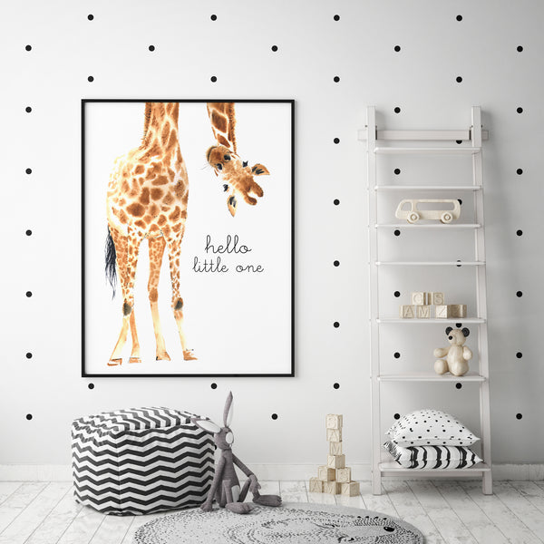Hello Little One Giraffe Print - The Original - Pretty in Print Art