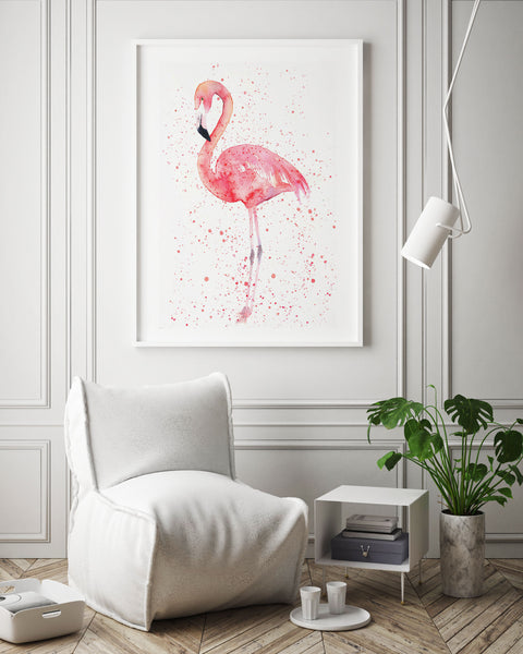 Flamingo Watercolour Art | Splatter Paint Style - Pretty in Print Art