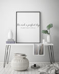 It's Such a Perfect Day Quote | Large Framed Wall Art | Lou Reed Lyrics - Pretty in Print Art