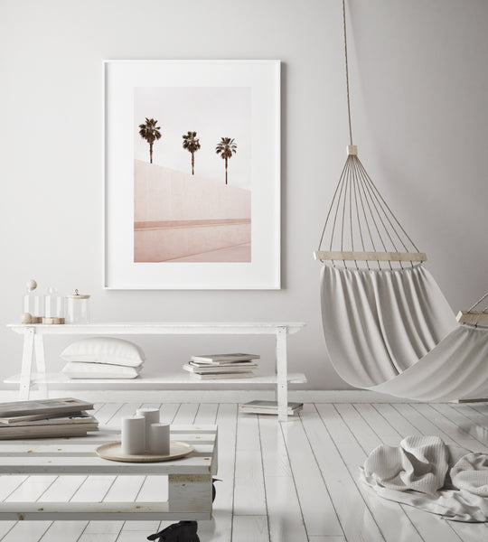 Pink Palm Tree Print | California Style Interior - Pretty in Print Art