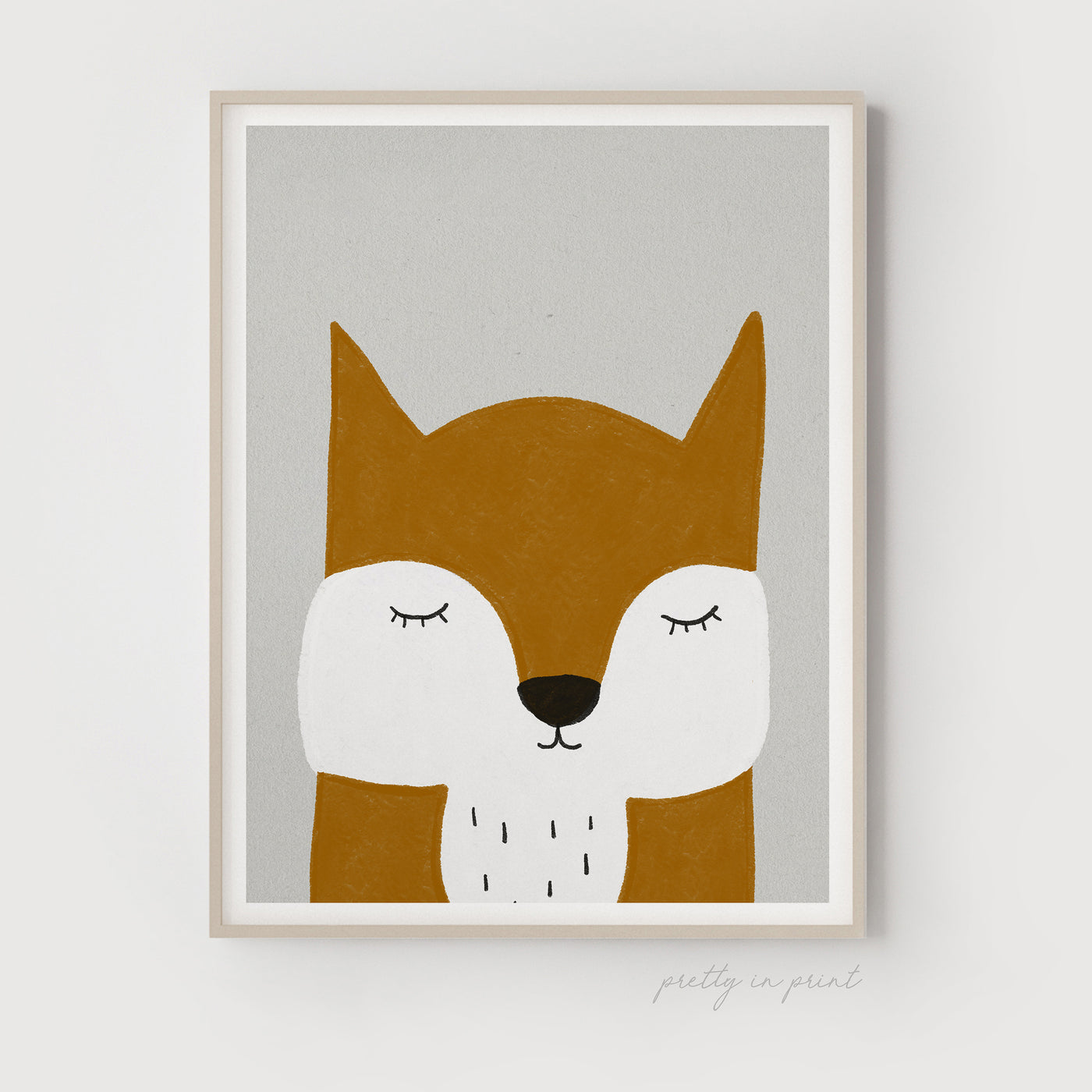 Sleepy Animal Nursery Decor - Fox (Orange)