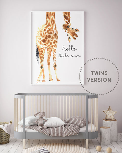 TWINS Hello Little One Giraffe Print - Pretty in Print Art