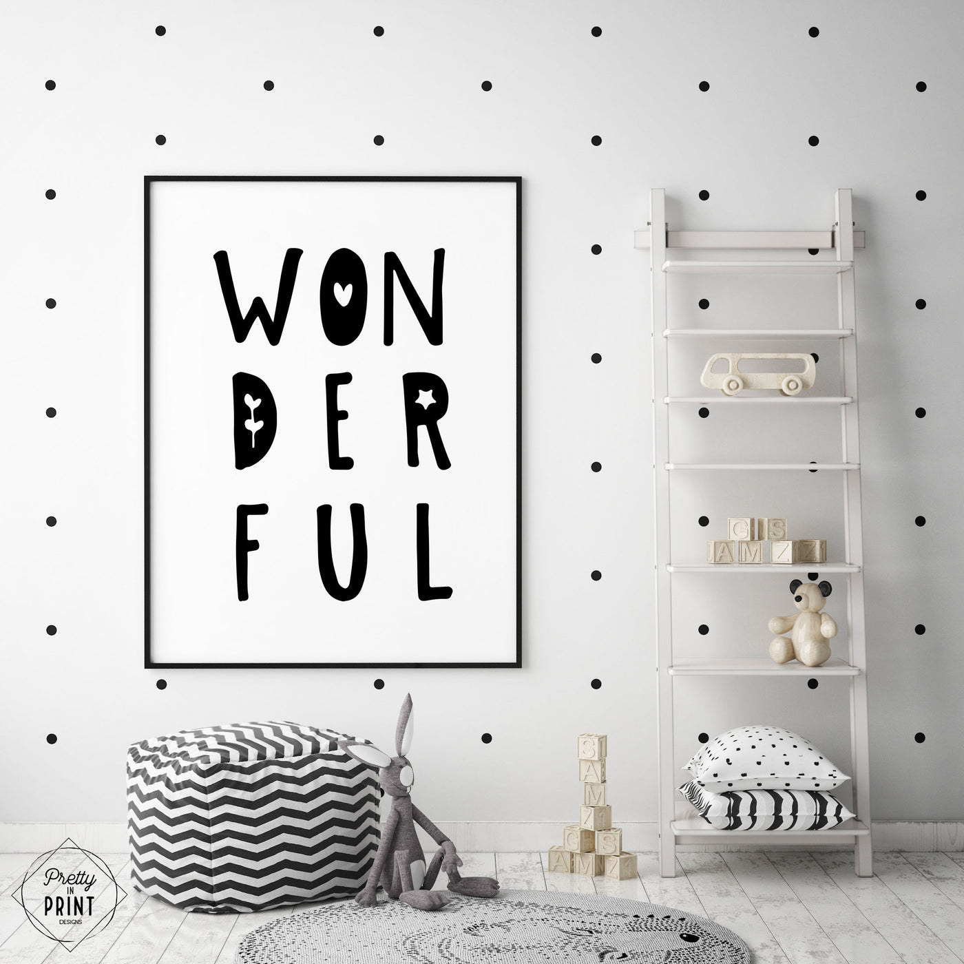 Black & White Nursery Quote Print - WONDERFUL - Pretty in Print Art