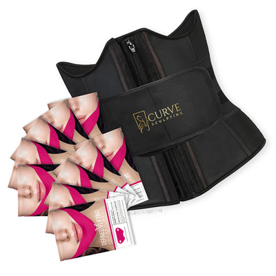 Curve Sculpting Strap + Zippa Waist Trainer + 10 Mask Bundle
