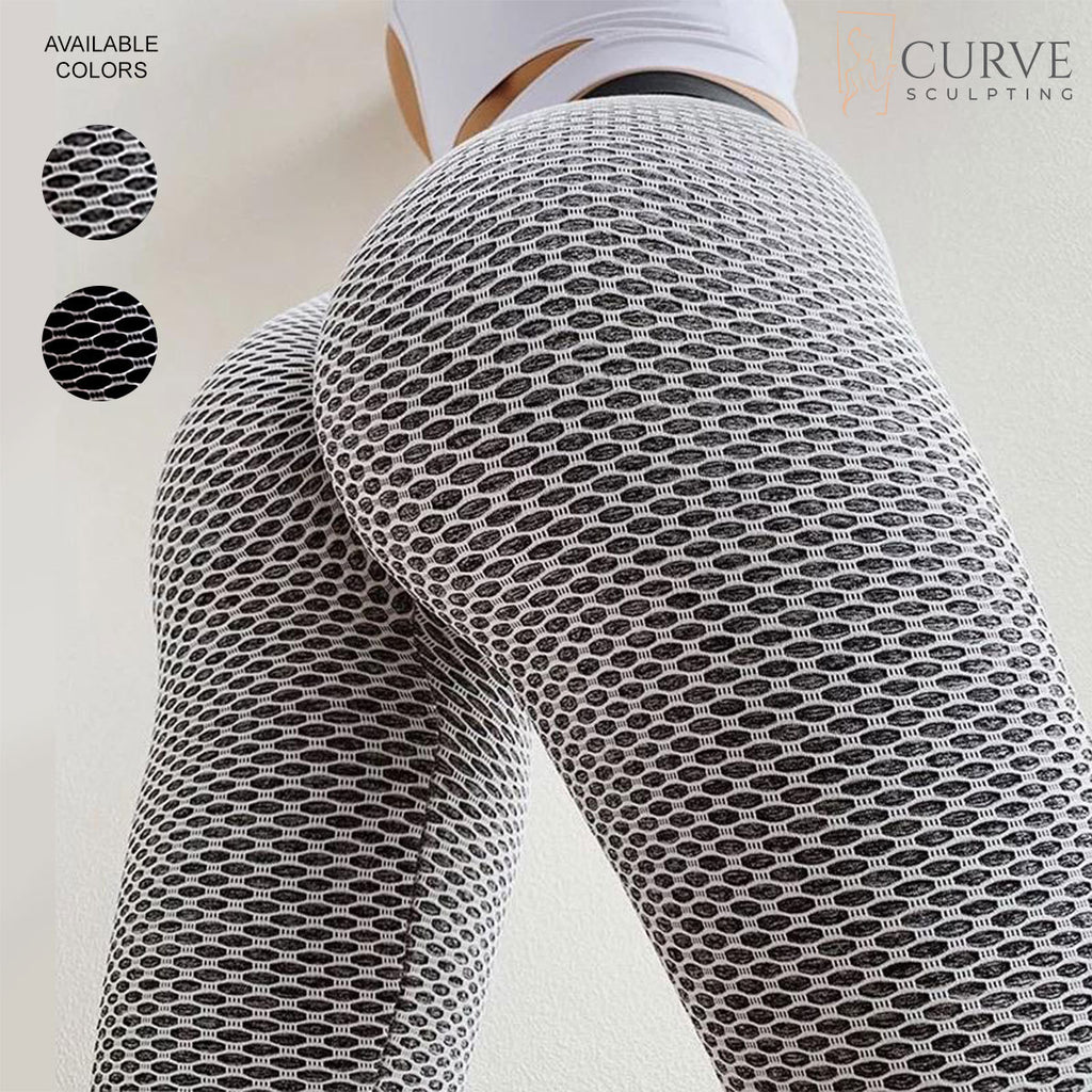 butt-sculpting, curve sculpting leggings, butt-scrunch leggings, ruched leggings, butt hugging leggings, bum scrunch leggings, grey fishnet leggings, Instagram leggings