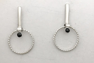 Vertical Bar Hoops with Onyx