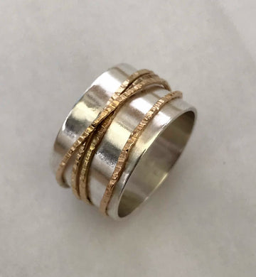 Sterling Silver Ring with Wrapped 14K Gold Filled