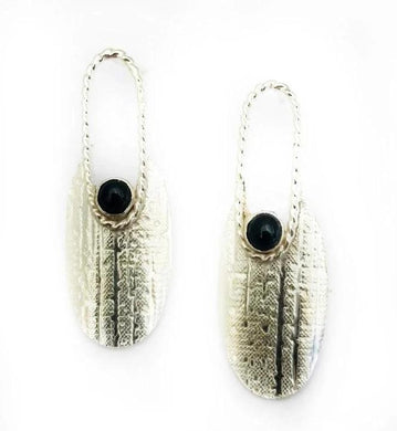 Textured curved sterling silver with bezel set onyx earrings