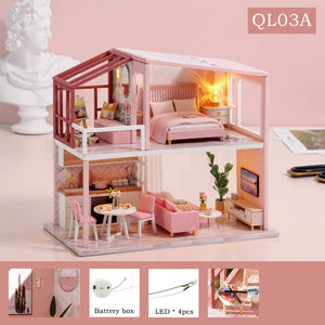 CUTEBEE DIY Doll House with Miniature Furniture Kit