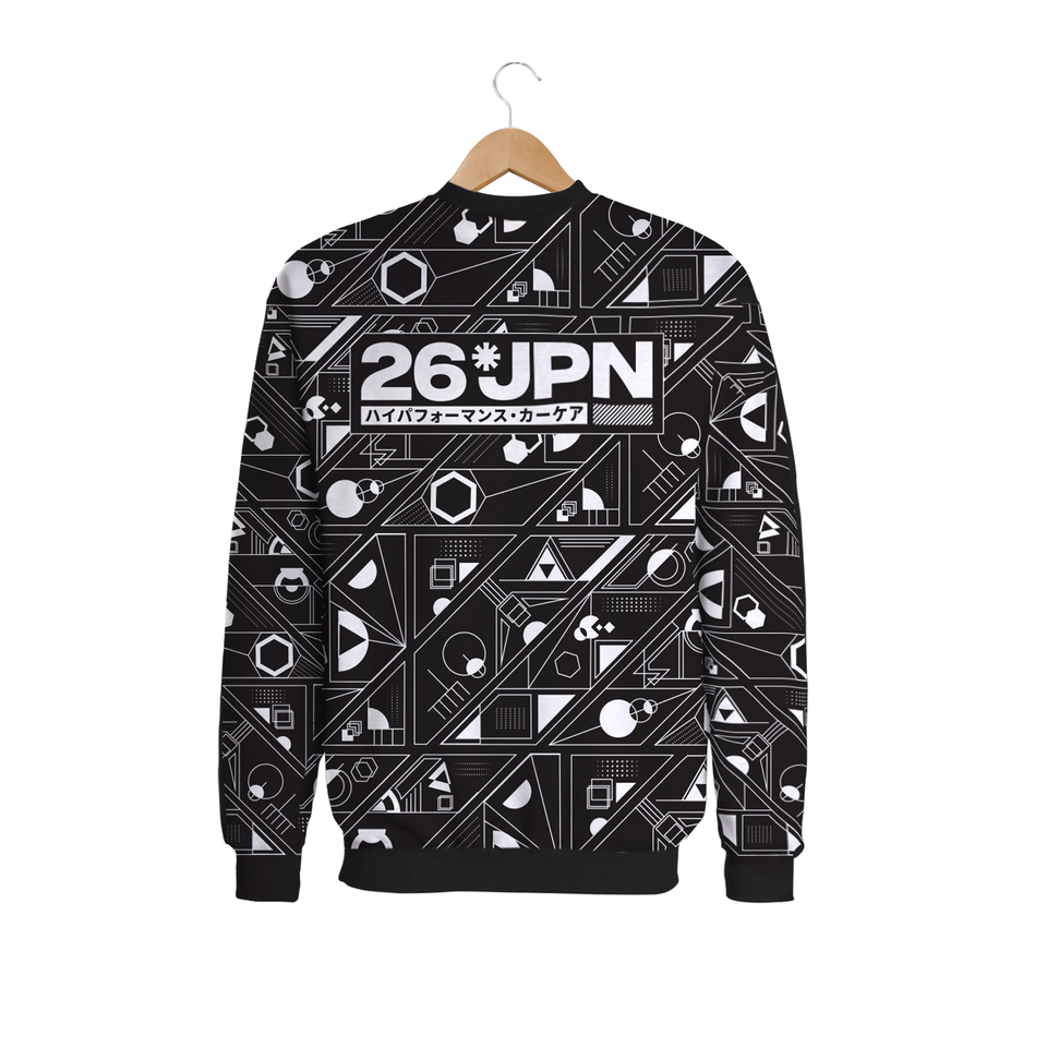 Abstract Elements Sweatshirt Black & White Back