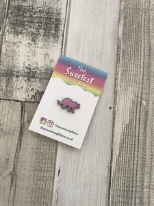Pink Dinosaur Pin Badge