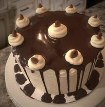 Load image into Gallery viewer, Chocolate Cake with Coconut-Filling, White Buttercream Frosting, and Chocolate Ganache