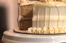 Load image into Gallery viewer, Spiced Eggnog Cake with Nutmeg Cream Cheese Frosting and White Chocolate Ganache