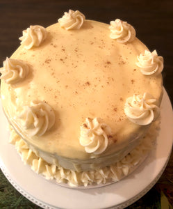 Spiced Eggnog Cake with Nutmeg Cream Cheese Frosting and White Chocolate Ganache