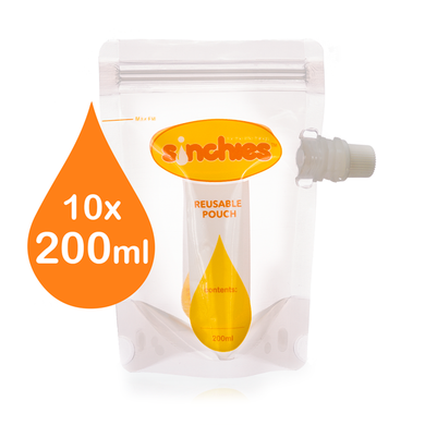 Sinchies. Sinchies 200ml side spout pouch 10 pack sold by Gumnut Kids.