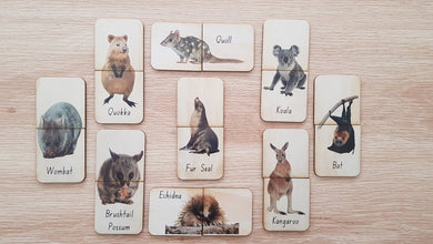 5 Little Bears. Handmade wooden australian mammal matching puzzle game sold by Gumnut Kids