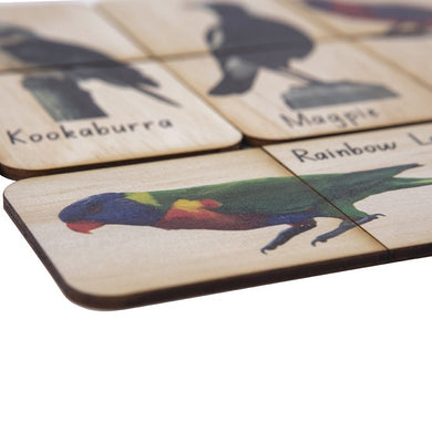 5 Little Bears. Handmade wooden australian birds matching puzzle game sold by Gumnut Kids. They include a corella, rainbow lorikeet, black cockatoo, rosella, galah, pelican, kookaburra, magpie and cockatoo.
