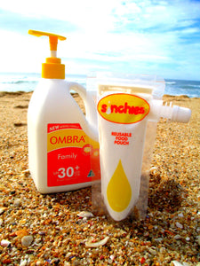 Sinchies. Sunscreen and other toiletries can be easily carried in a Sinchies 80ml side spout pouch,