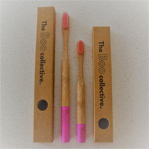 Bamboo Toothbrush The Boo Collective Adult Child Pink