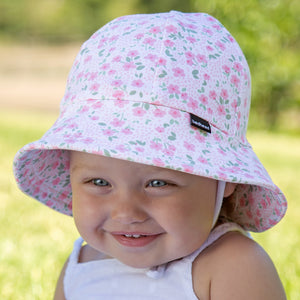 Bedhead Hats Baby Bucket Hat Mia Pink Flowers Toddler Hat UPF 50+
