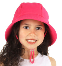 Load image into Gallery viewer, A girl wearing a bright pink bucket hat made by bedhead hats