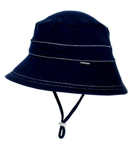 side view of a navy kids bucket hat made by bedhead hats