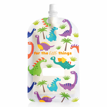 Load image into Gallery viewer, Sinchies reusable food pouches. 200ml dinosaur yoghurt pouch sold by Gumnut Kids.